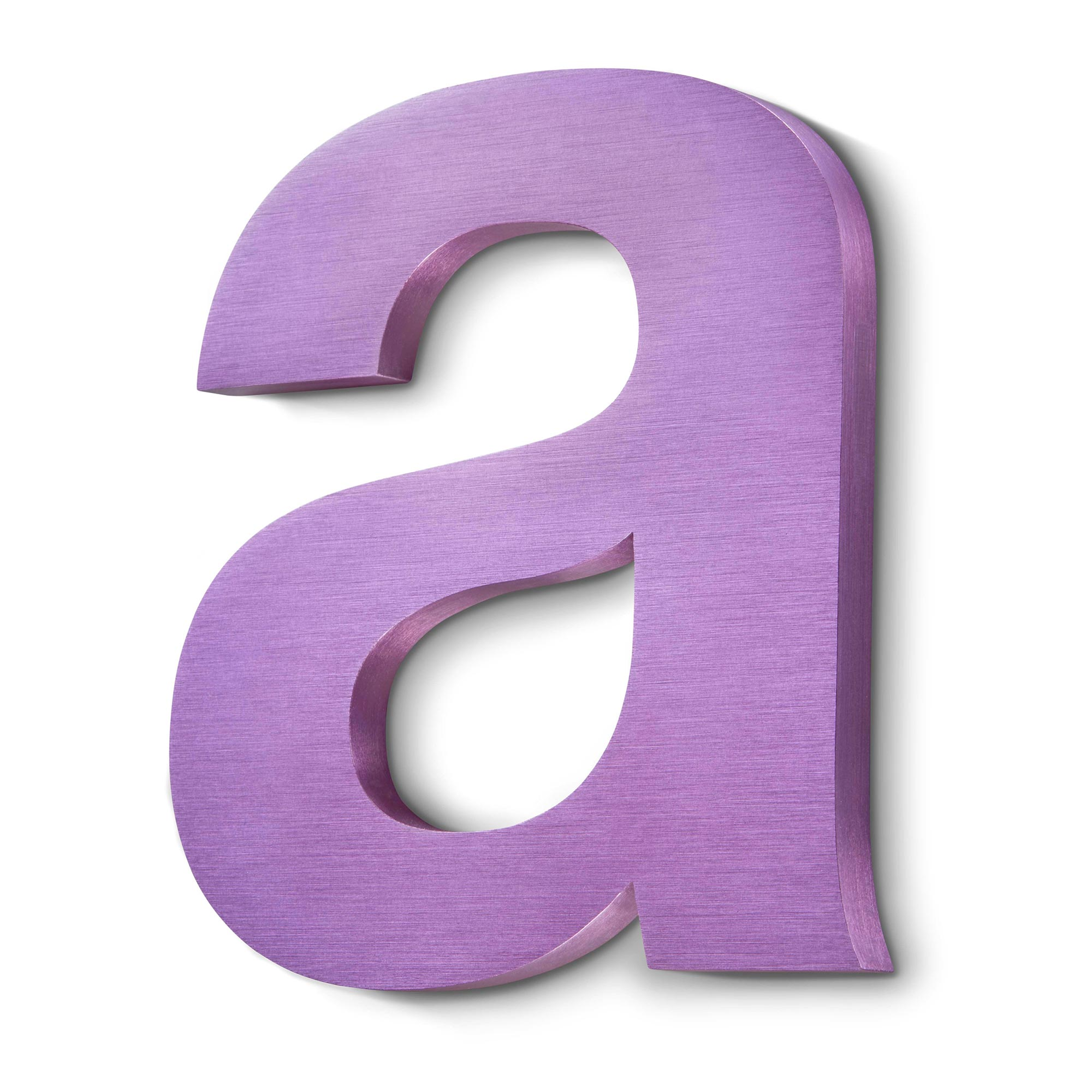 purple anodised letter