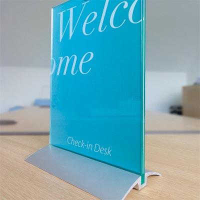 Glass looking desktop sign holder