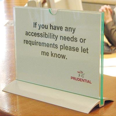 Paper insert sign desktop holder