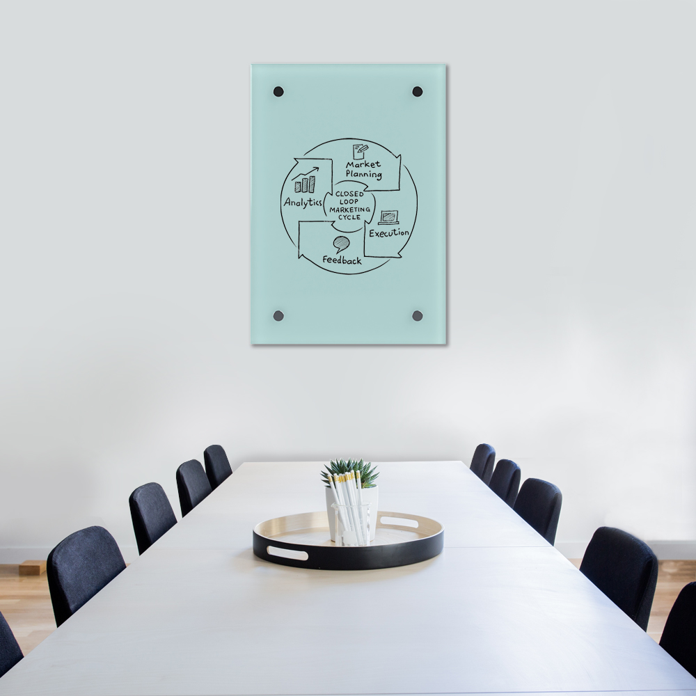 Glass Dry Wipe Whiteboard Doodleglass - 550 x 790mm