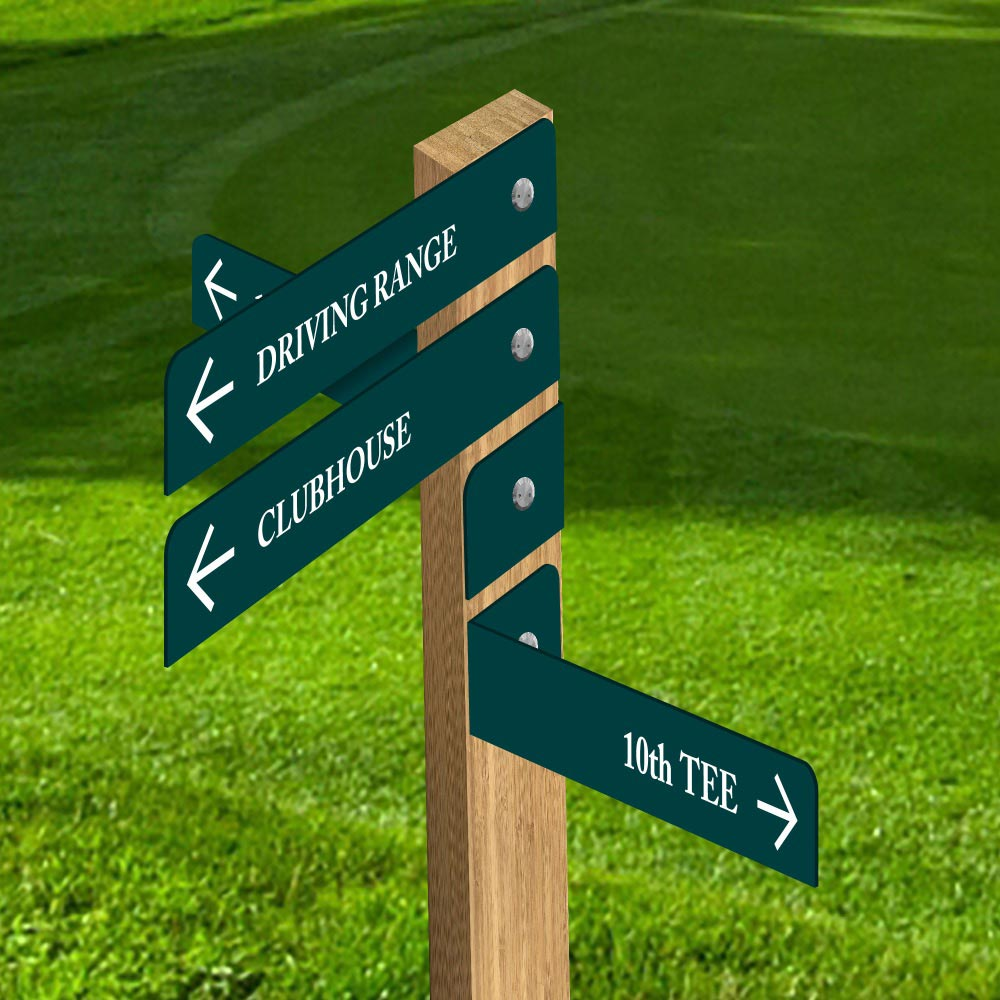 Hybrid finger post - Golf course sign