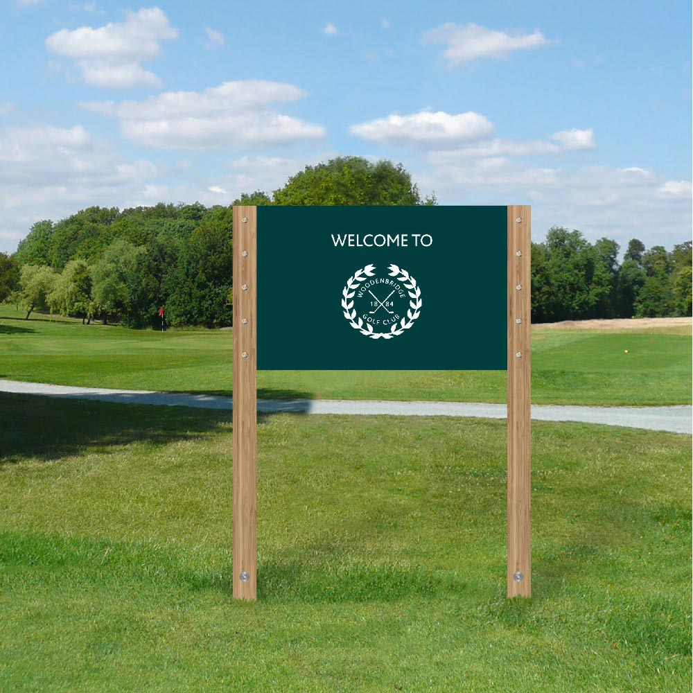 Hybrid sign system, twin post - Golf club sign