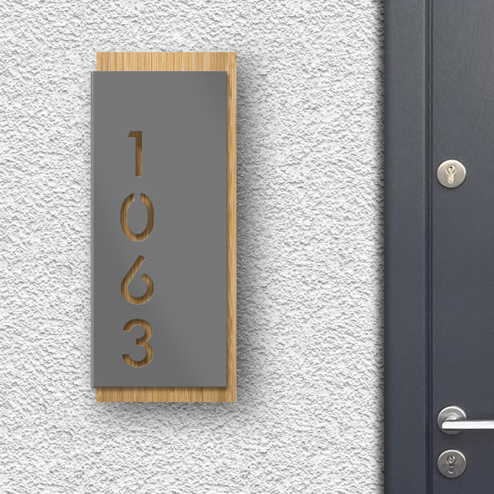 Modern House Sign - Grey front panel