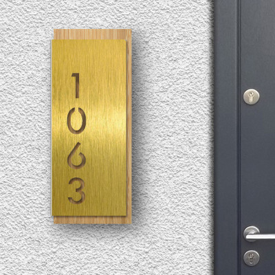 Modern House Sign - Gold front panel