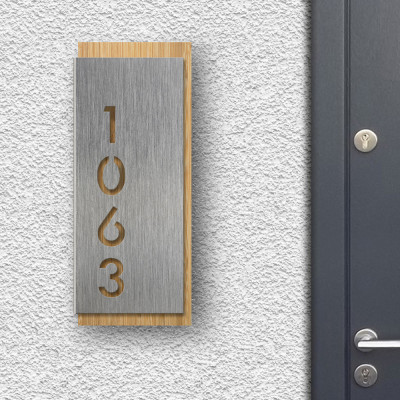 Modern House Sign - Silver front panel