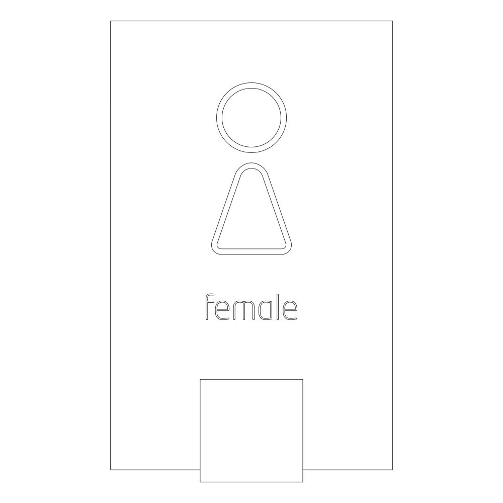 Female symbol - Font Design 1 -LED illuminated room sign