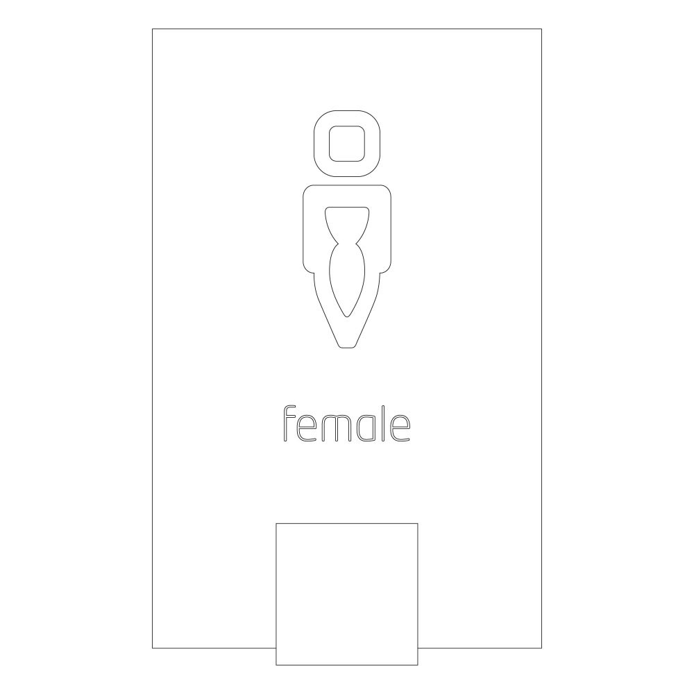Female symbol - Font Design 2 -LED illuminated room sign