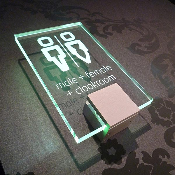 LED illuminated room sign