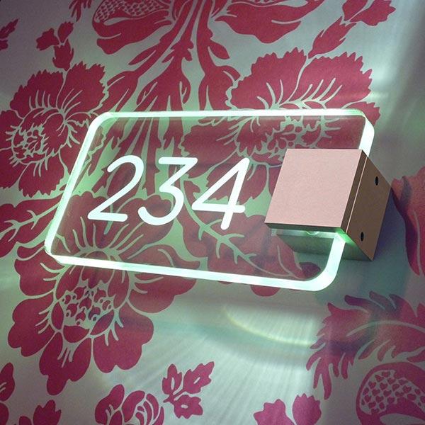 LED illuminated room door sign
