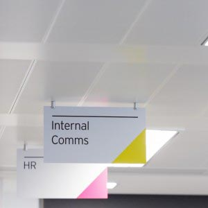 Magnetic sign system ceiling mounted