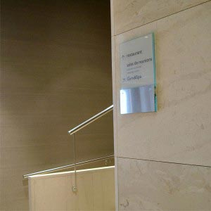 Marcal sign system graphic paper trap room signage wayfinding