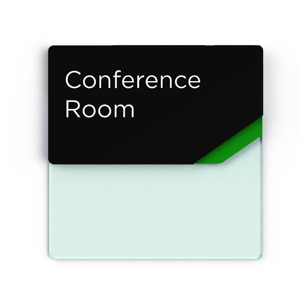 Sliding meeting room sign with drywipe board