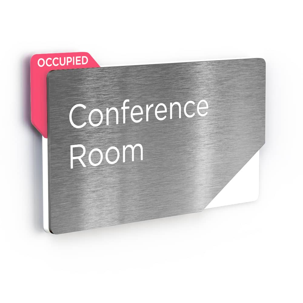 Sliding Meeting Room Sign - Brushed Silver Finish