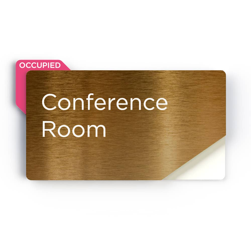 Sliding Meeting Room Sign - Brushed Brass Finish