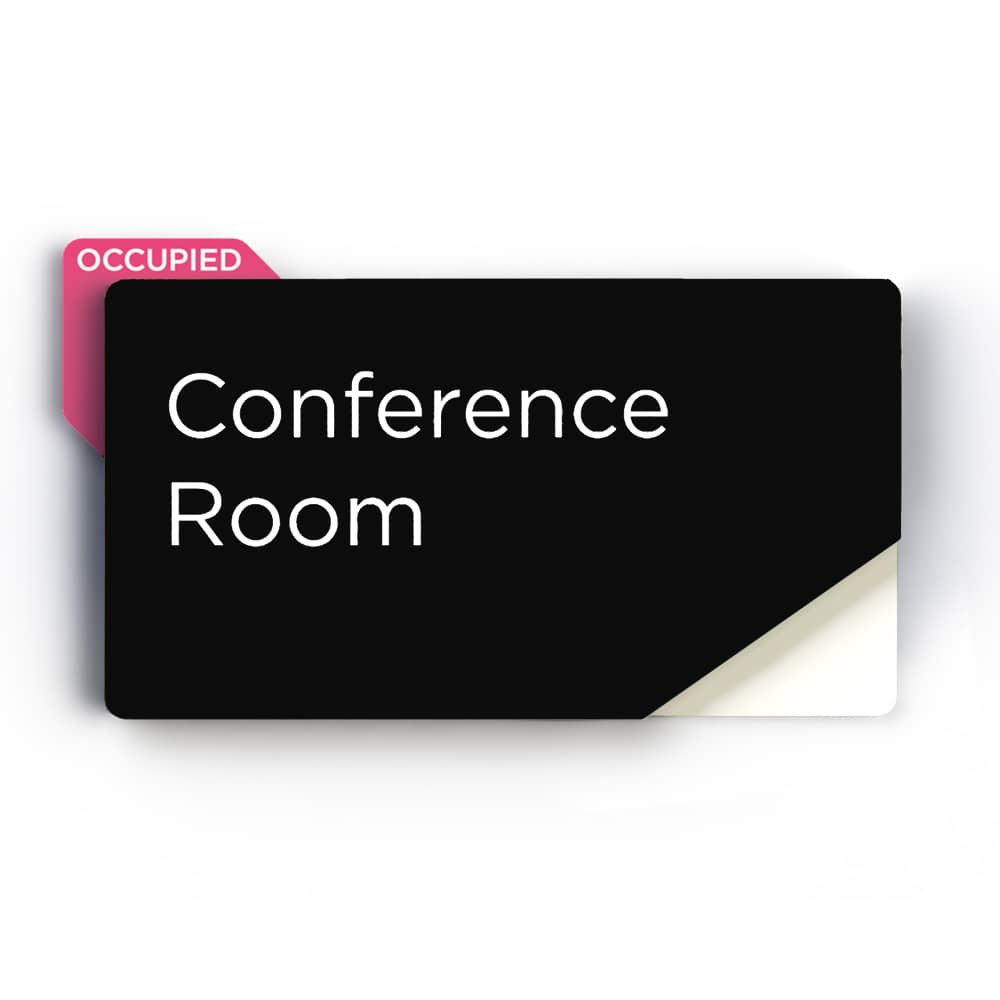 Sliding Meeting Room Sign - Black Finish