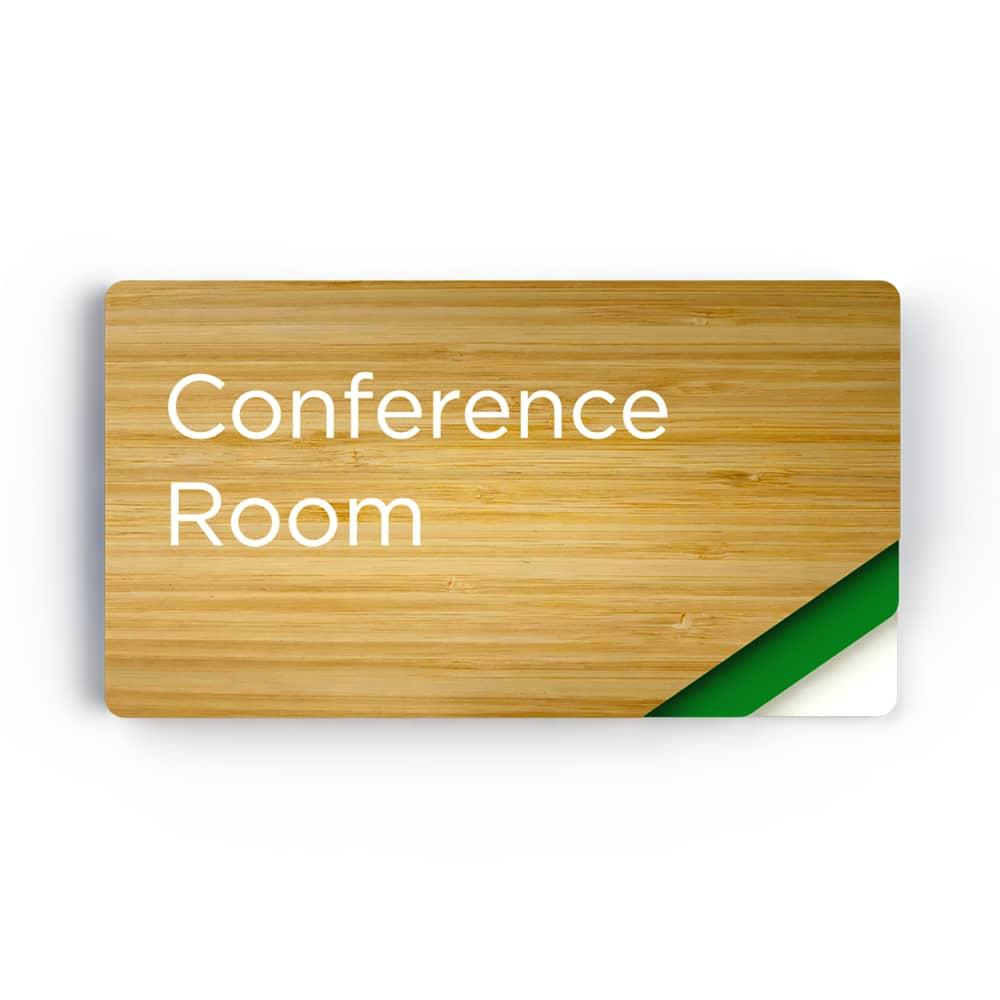 Sliding Meeting Room Sign - Bamboo Finish