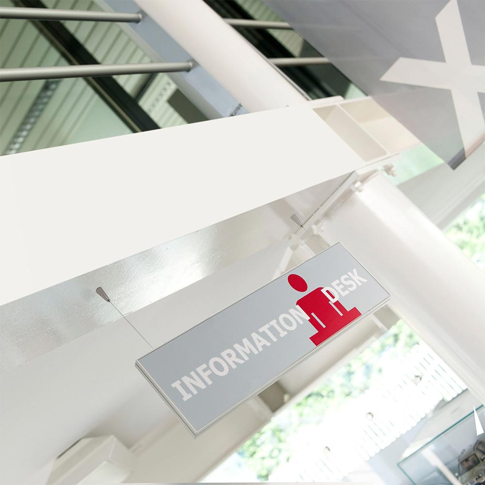 Ceiling suspended information desk sign