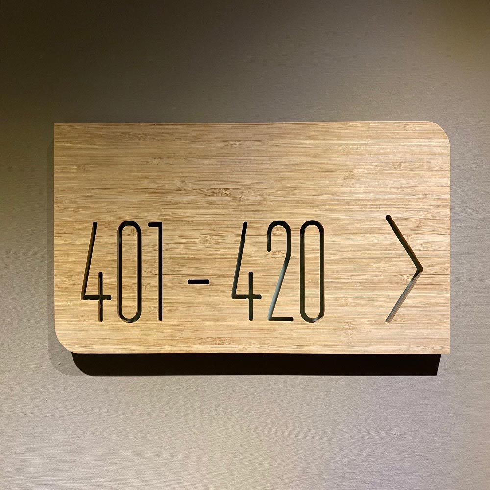 Directional Sign in Wood