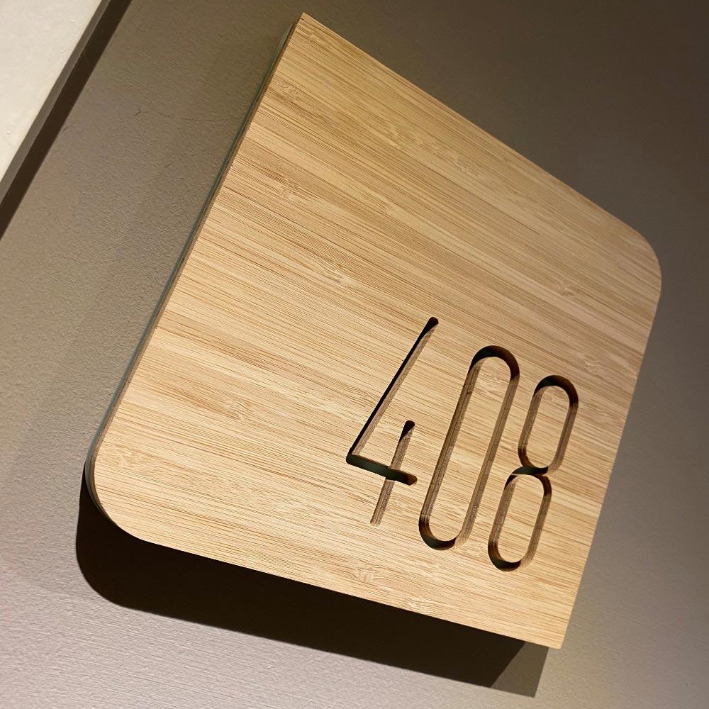 Wood directional signage