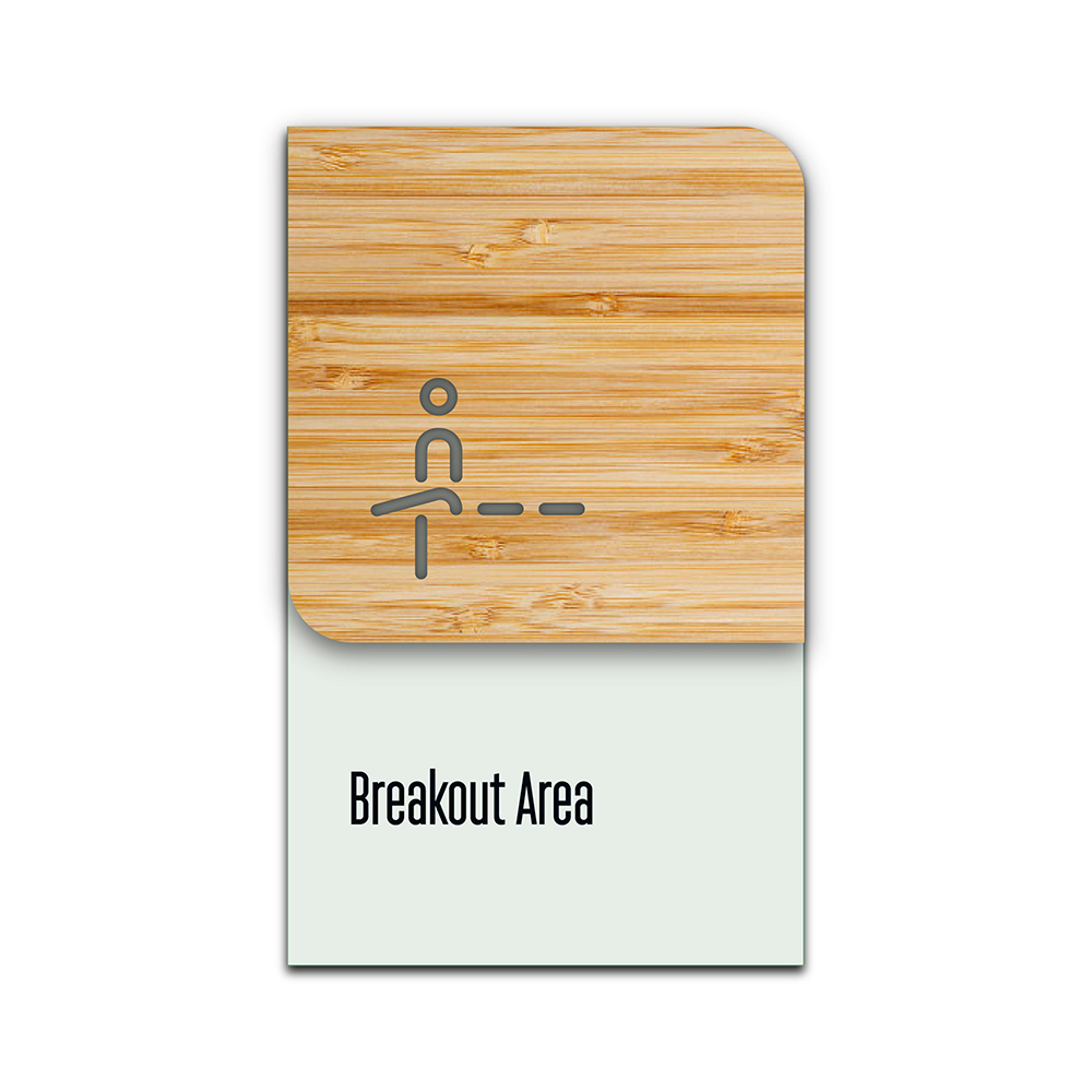 Bamboo Glass Information Sign - breakout area