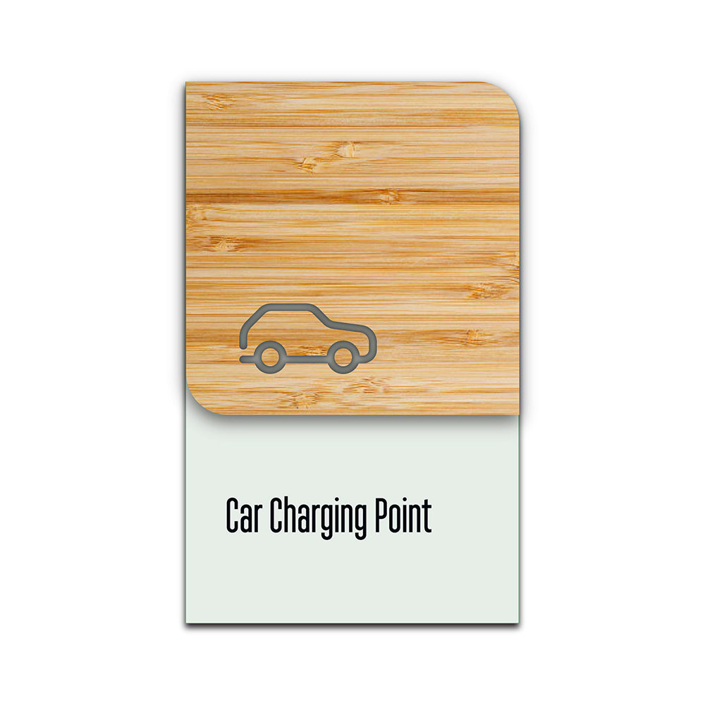 Bamboo Glass Information Sign - Car Charging