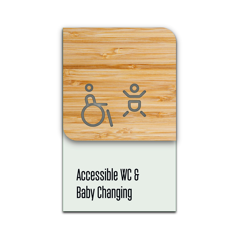Bamboo Glass Information Sign -  Accessible baby Change