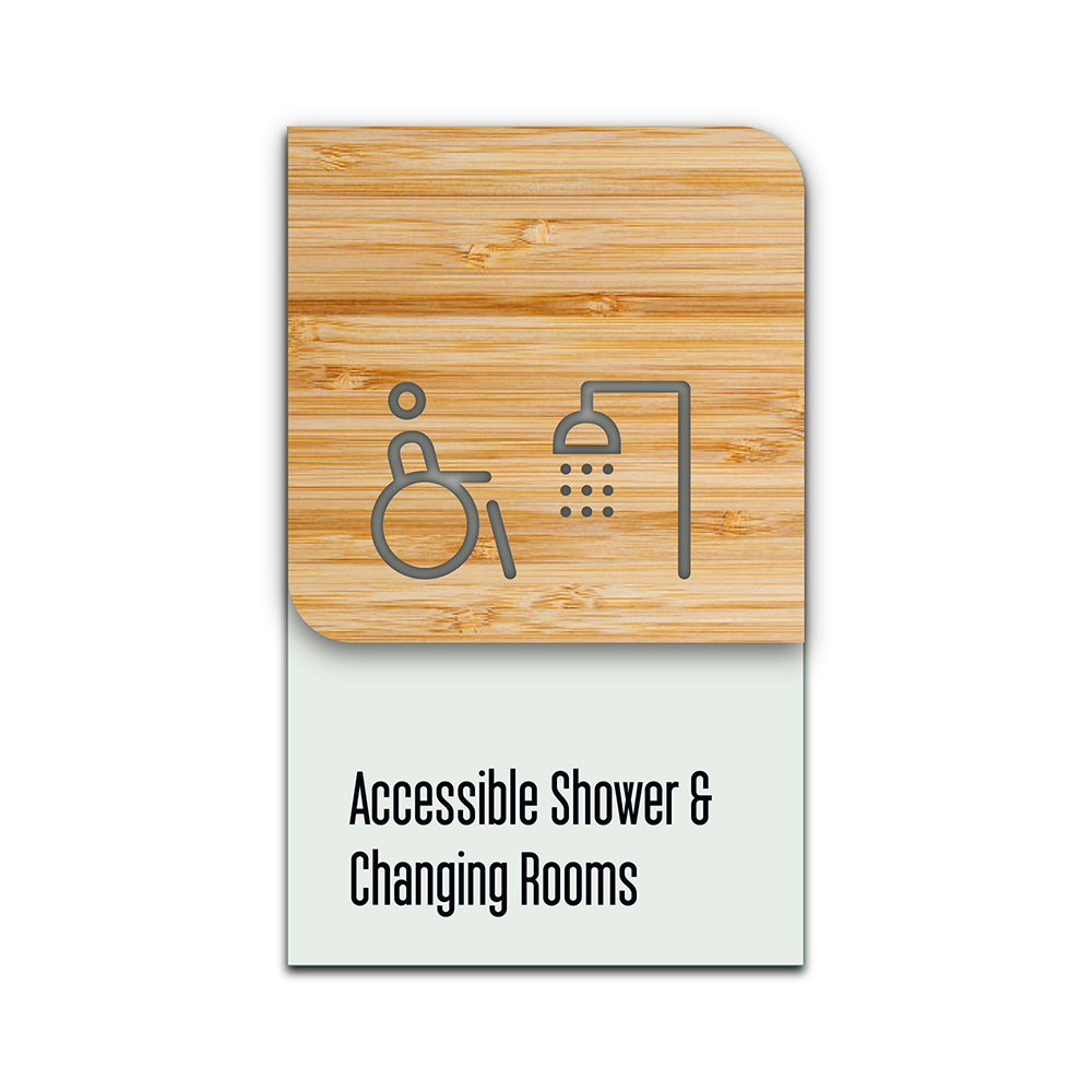 Bamboo Glass Information Sign - Accessible Shower
