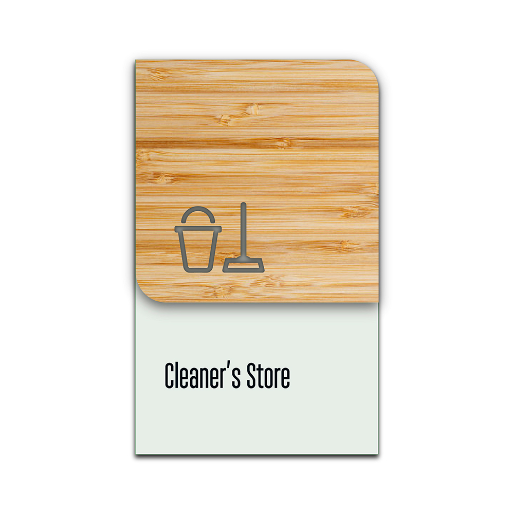 Bamboo Glass Information Sign - Cleaning Cupboard