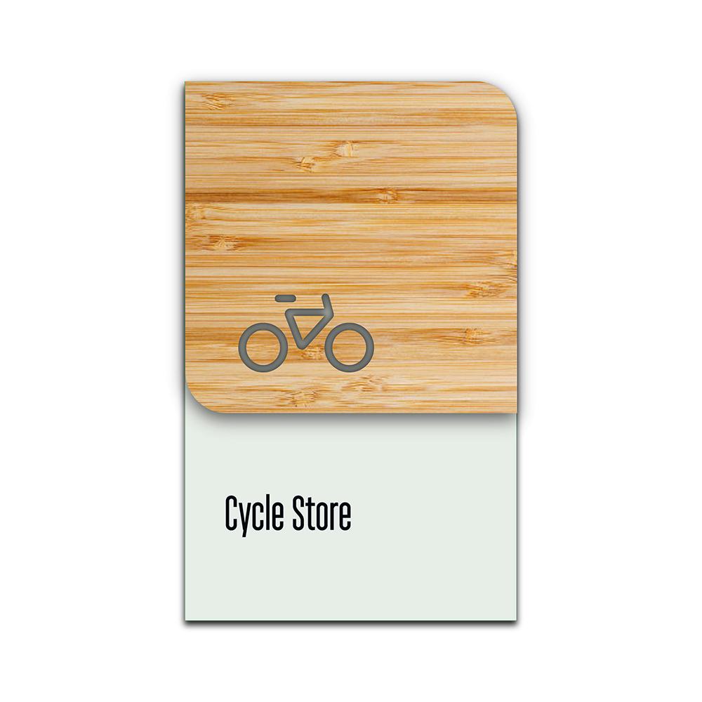 Bamboo Glass Information Sign - Bike Zone