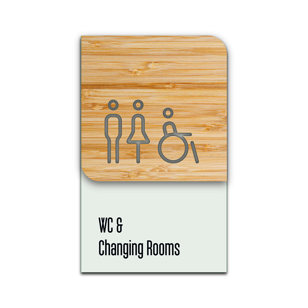 Bamboo Glass Information Sign - WC & Changing Room