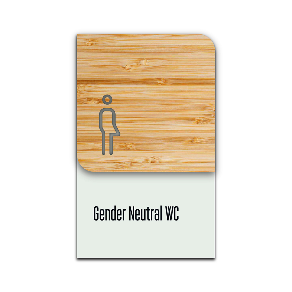 Bamboo Glass Information Sign -  Gender Neutral WC