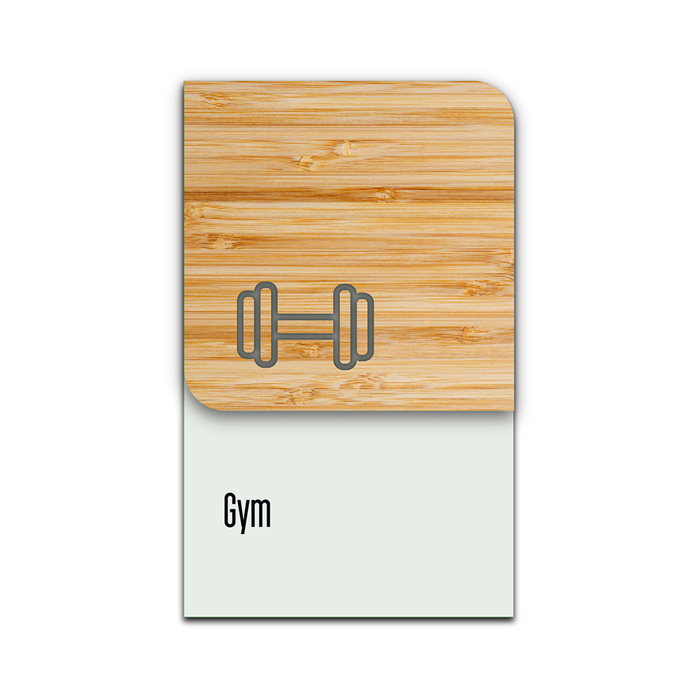 Bamboo Glass Information Sign - Gym