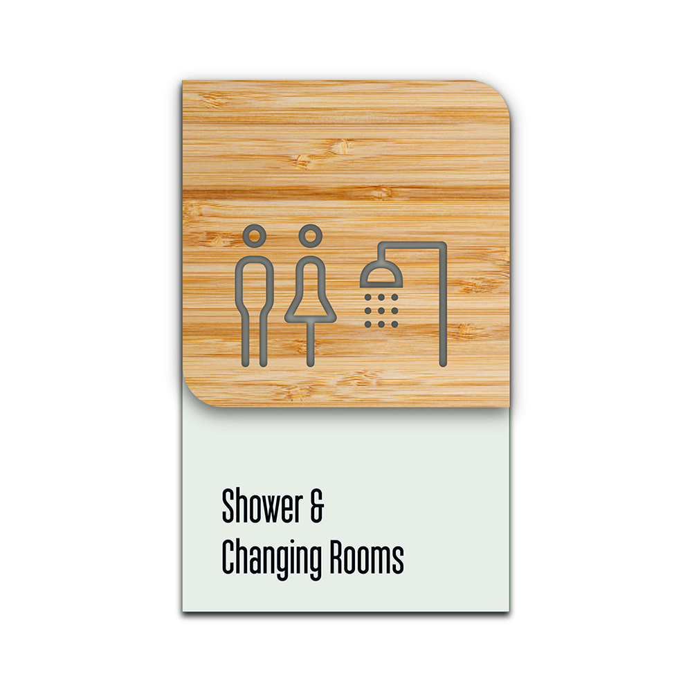 Bamboo Glass Information Sign - Shower & Changing
