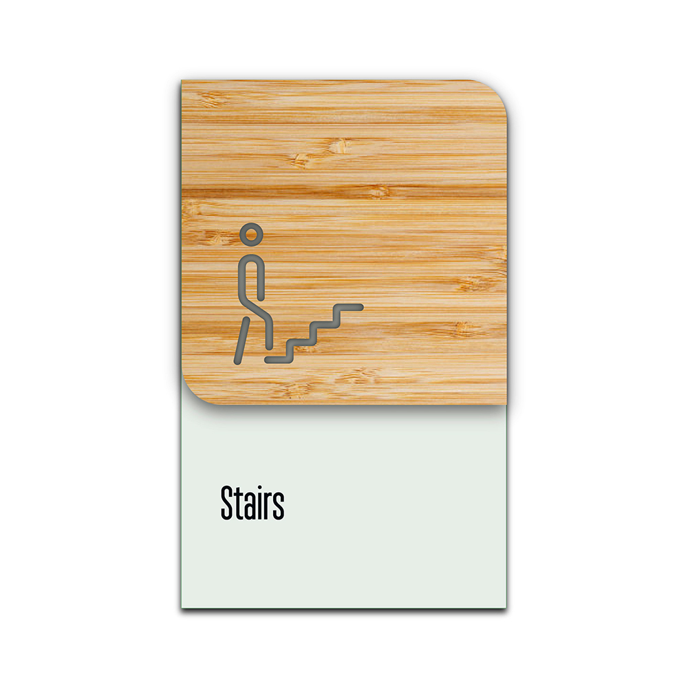 Bamboo Glass Information Sign - Stairs