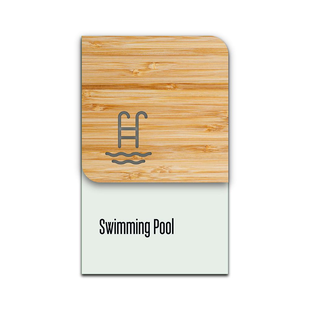 Bamboo Glass Information Sign - Swimming Pool