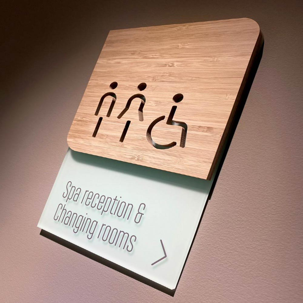 Wayfinding signage in wood
