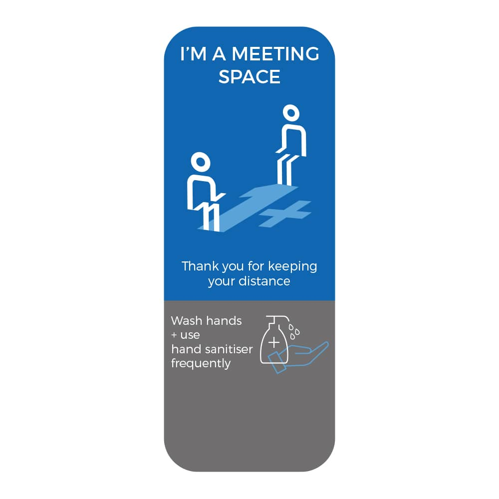 Social Distancing Sticker - 1+ Metre Social Distance - Blue