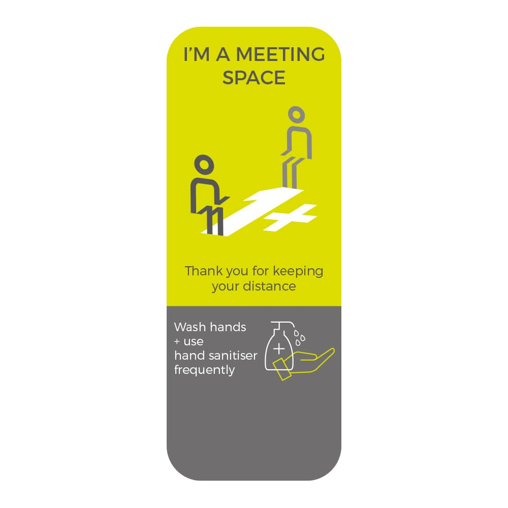 Social Distancing Sticker - 1+ Metre Social Distance - Lime