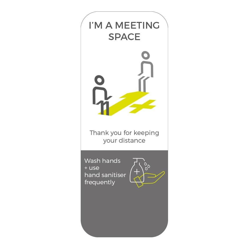 Social Distancing Sticker - 1+ Metre Social Distance - White