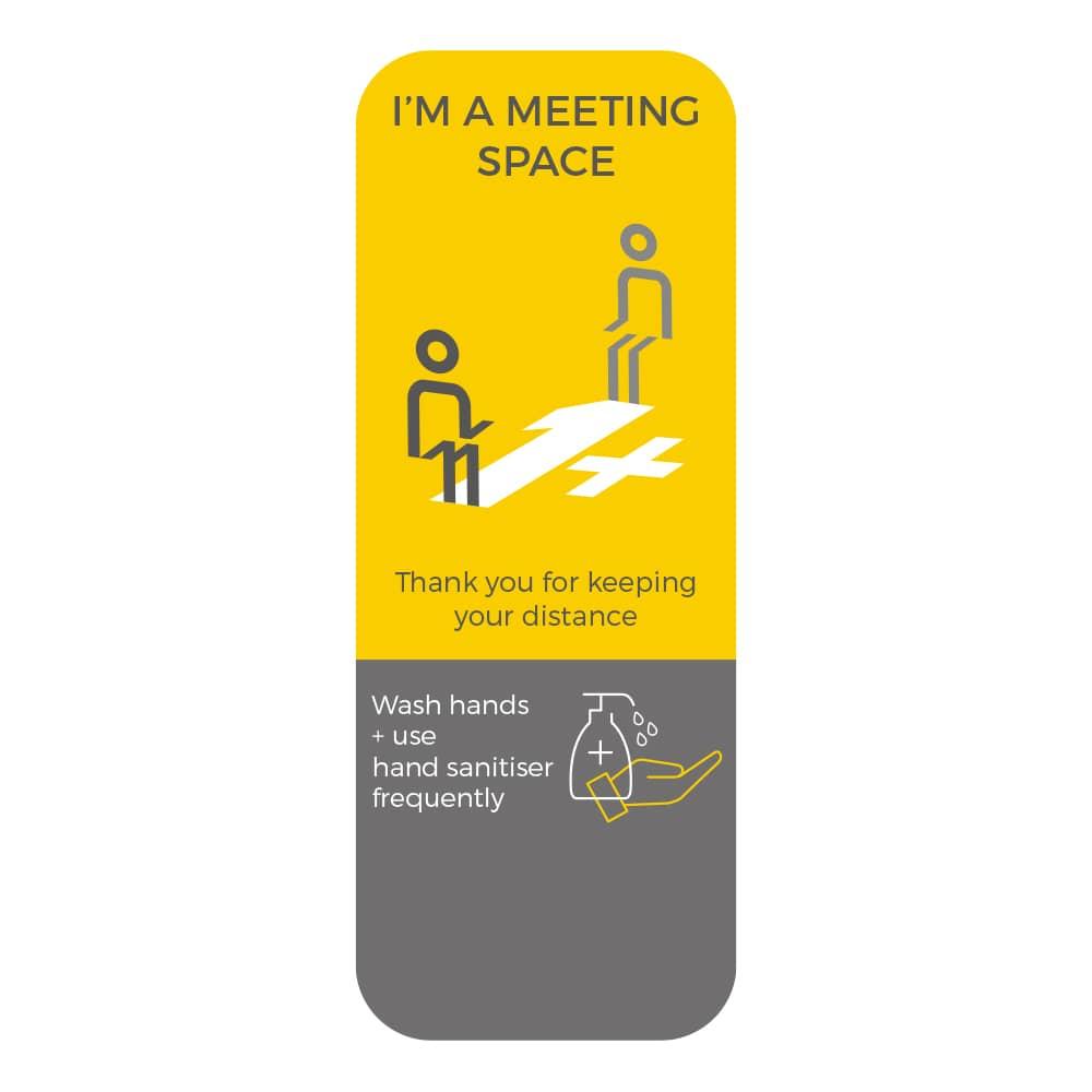 Social Distancing Sticker - 1+ Metre Social Distance - Yellow