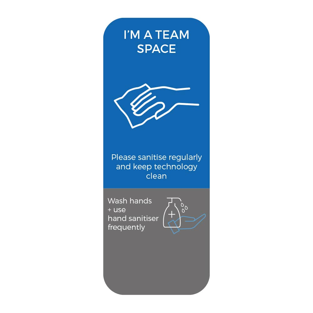 Social Distancing Sticker - Please Sanitise Regularly - Blue
