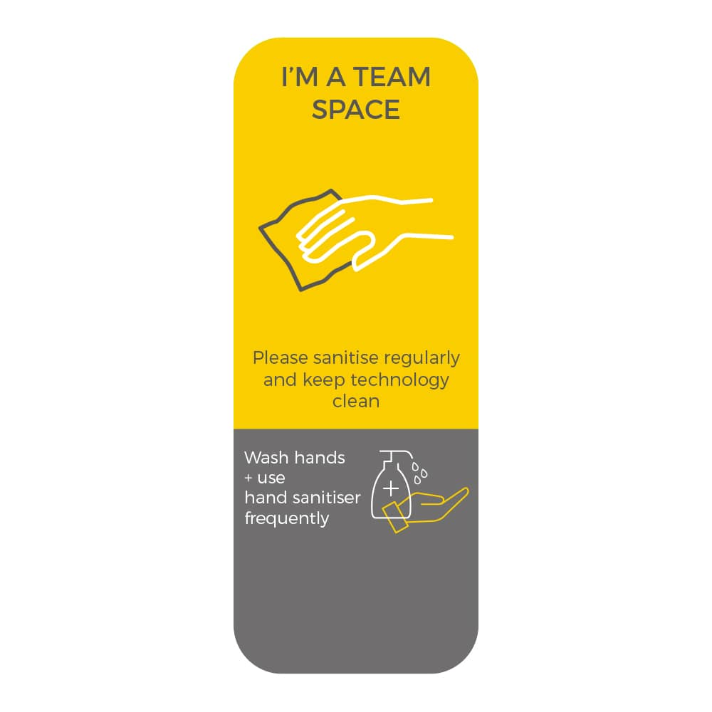 Social Distancing Sticker - Please Sanitise Regularly - Yellow