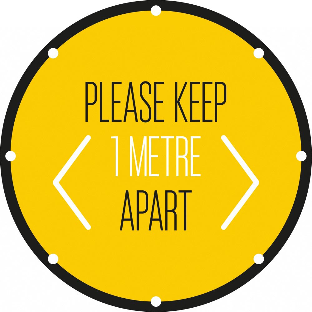 Please Keep 1 Metre Apart - Yellow