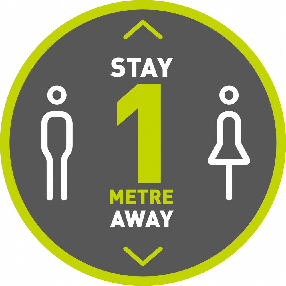 Stay 1 Metre Away v3 - Grey