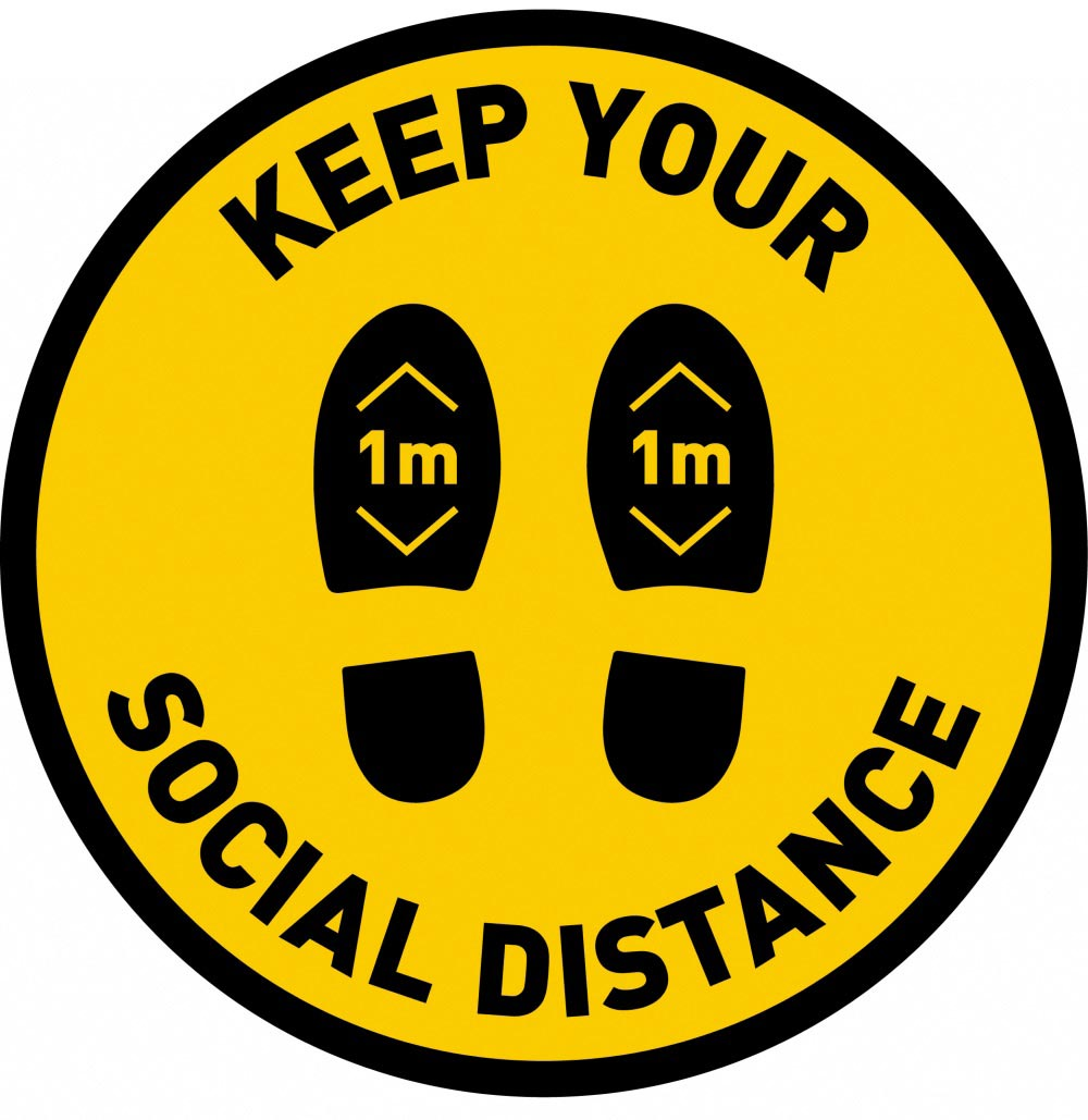 Keep Your Social Distance 1m - Yellow