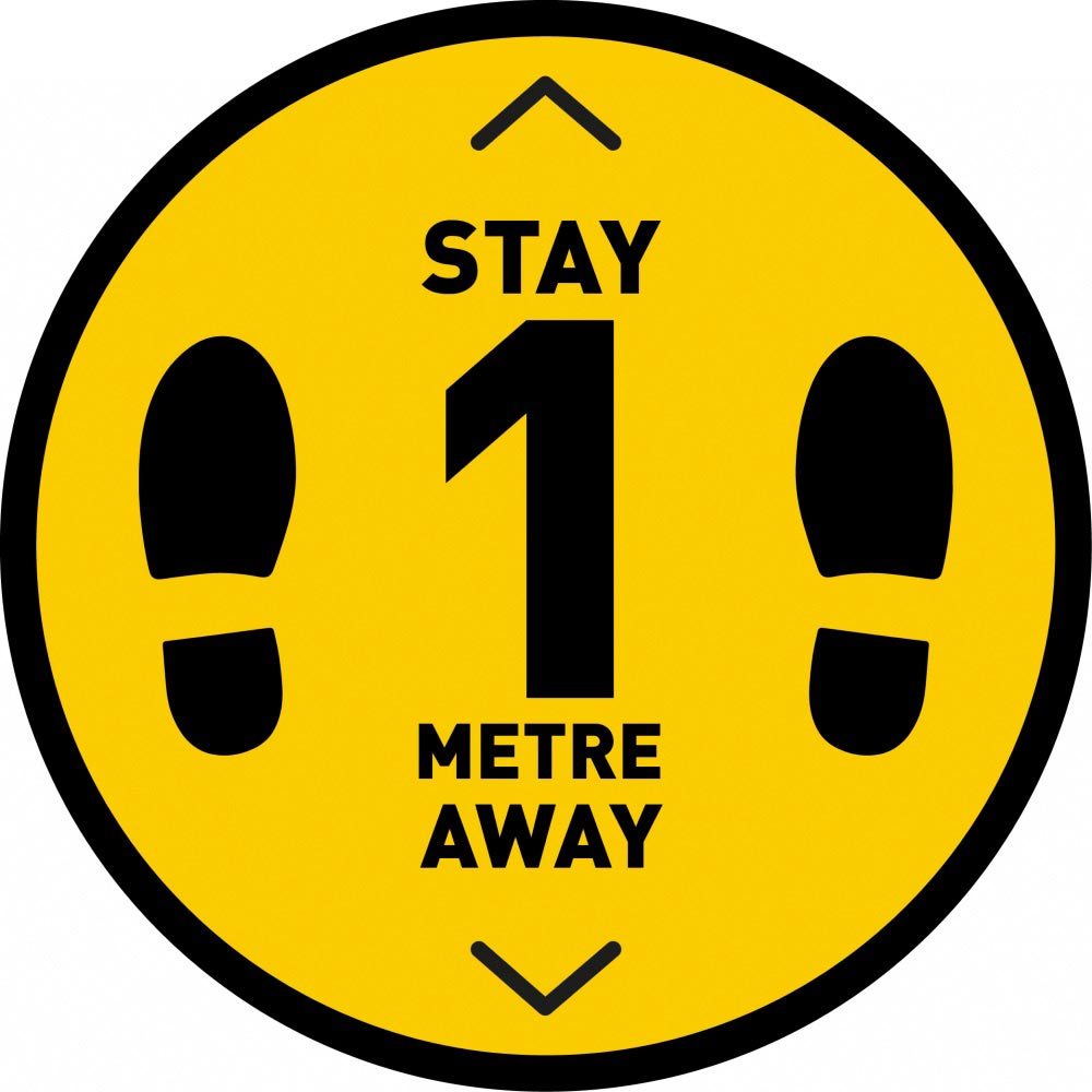 Stay 1 Metre Away v2 - Yellow