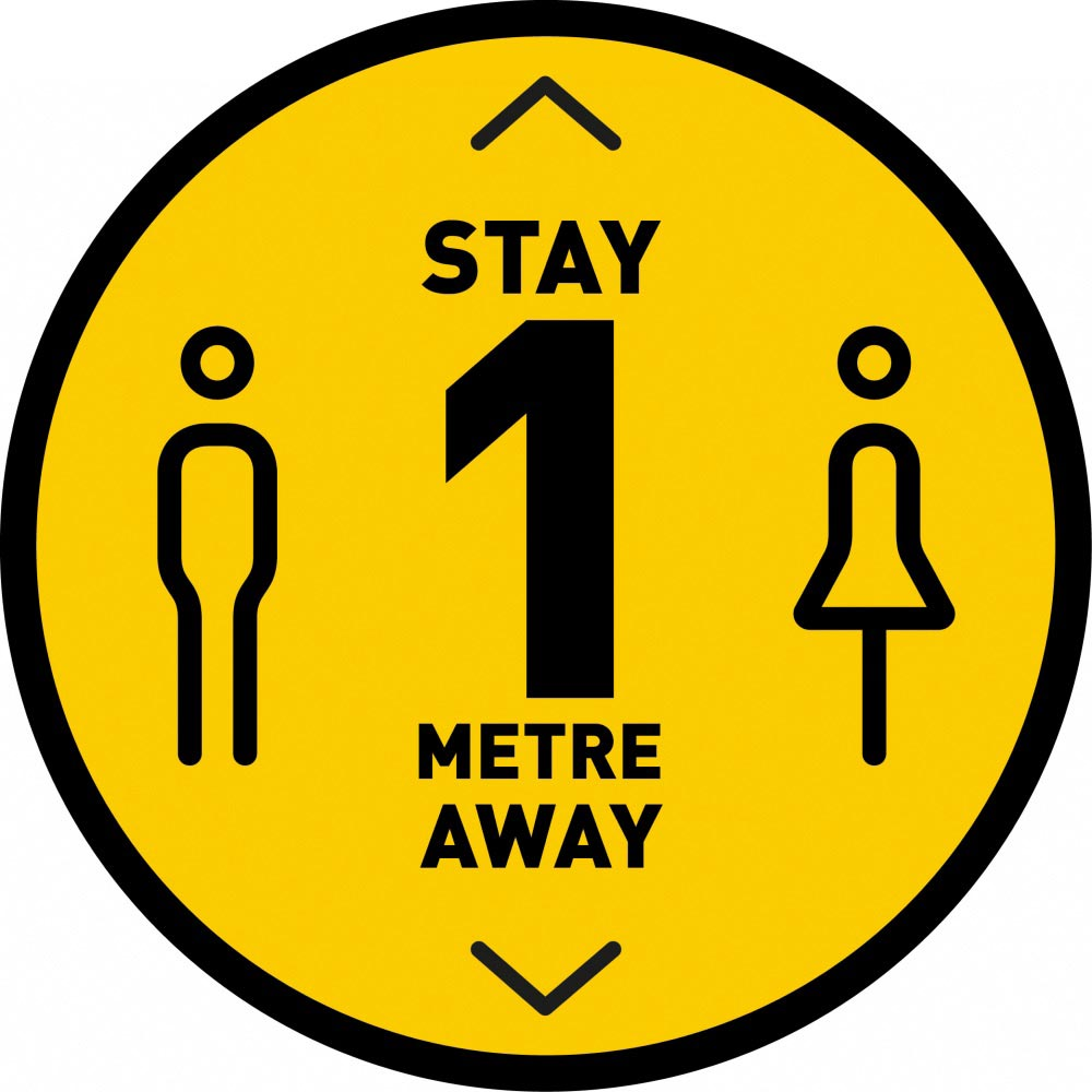 Stay 1 Metre Away v3 - Yellow
