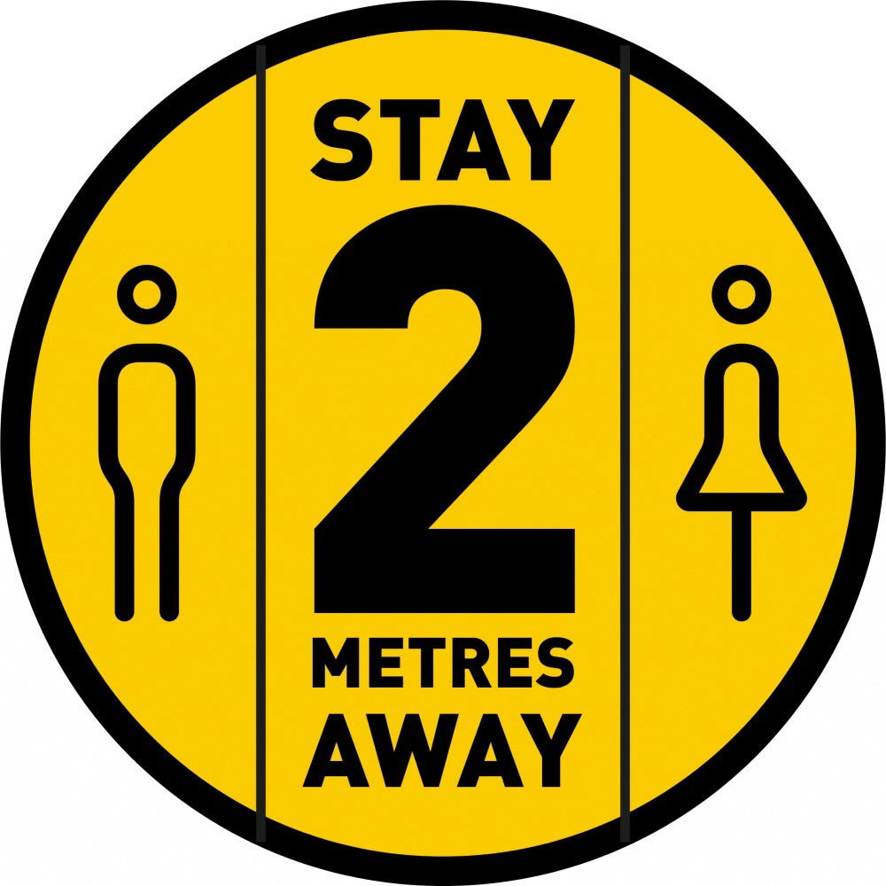 Stay 2 Metres Away - Yellow