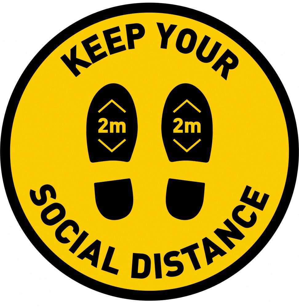 Keep Your Social Distance 2m - Yellow