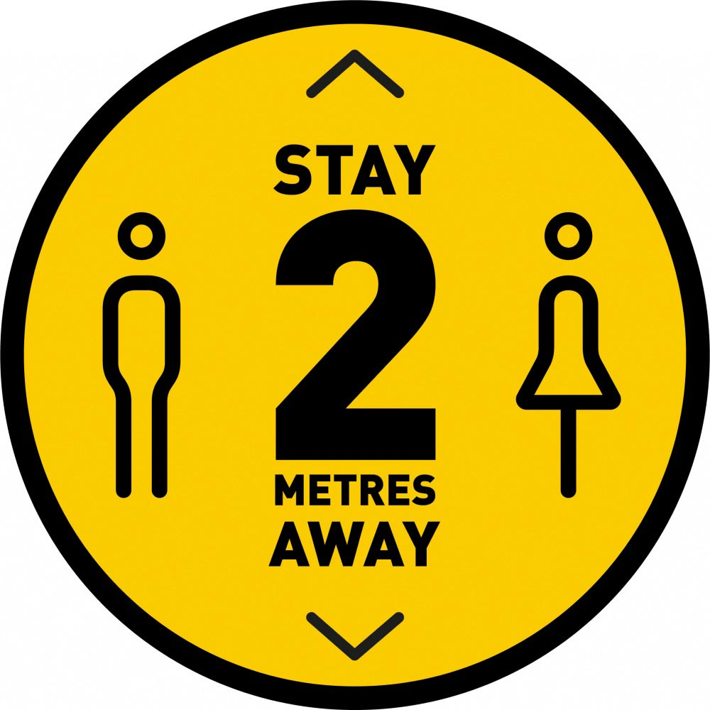 Stay 2 Metres Away v3 - Yellow